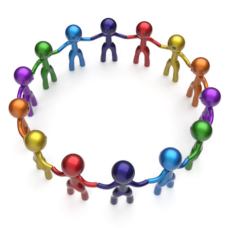 team group: Social network stylized people teamwork men together circle characters worldwide large group friendship individuality team different cartoon friends unity human resources concept. 3d render isolated