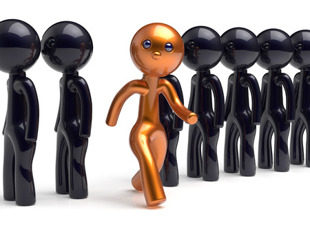 differ: Stand out from the crowd character different individuality people unique man think differ person otherwise run to new opportunities concept human resources hr icon. 3d render isolated