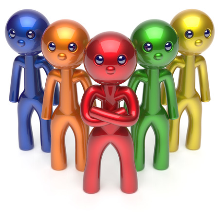 commander: Leadership teamwork character stylized men crowd businessman commander team individuality five cartoon persons icon colorful social relationship friends concept. 3d render isolated Stock Photo