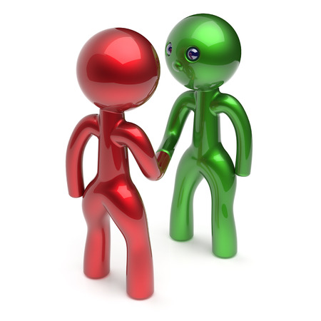 acquaintance: Handshake cartoon characters two men shaking hand business partners deal 2 different businessmen teamwork acquaintance agreement welcome meeting people icon concept red green. 3d render isolated