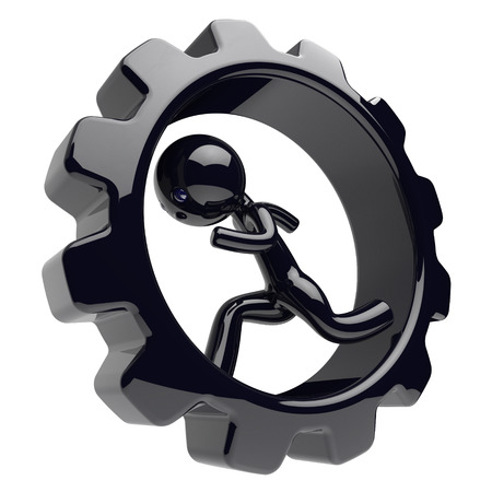 worker person: Man character running inside cogwheel gearwheel businessman hamster stylized black human cartoon guy person worker rotate gear wheel business career employment concept. 3d render isolated on white