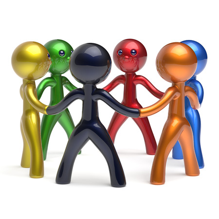 collectives: Teamwork circle people social network individuality characters human resources friendship team six different cartoon friends unity meeting icon concept colorful. 3d render isolated