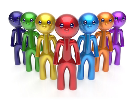 commander: Leadership businessman commander teamwork characters men crowd team individuality seven cartoon persons icon. Social relationship friends concept 3d render isolated