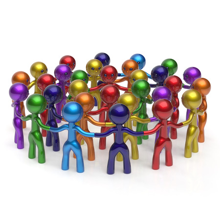 individuality: Social network crowd circle worldwide large group people teamwork characters friendship individuality team different cartoon friends corporate human unity icon concept colorful. 3d render isolated