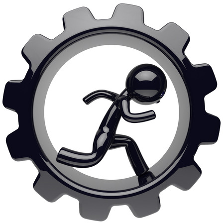Man character stylized black human running inside gearwheel businessman rotate cogwheel cartoon guy person worker gear wheel business career employment concept. 3d render isolated on white background Standard-Bild