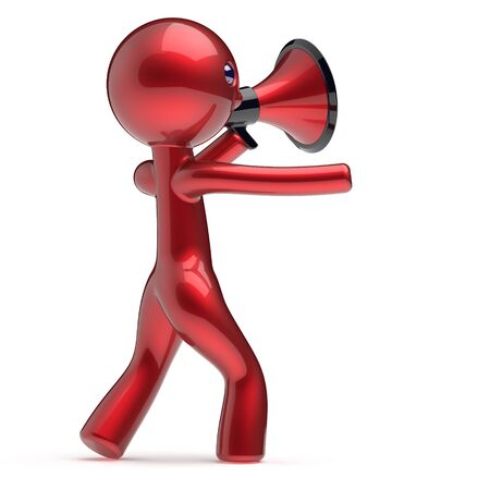communication cartoon: Man promotion speaking megaphone character making sale advertisement announcement news red stylized human cartoon guy speaker person communication people shout figure icon concept 3d render