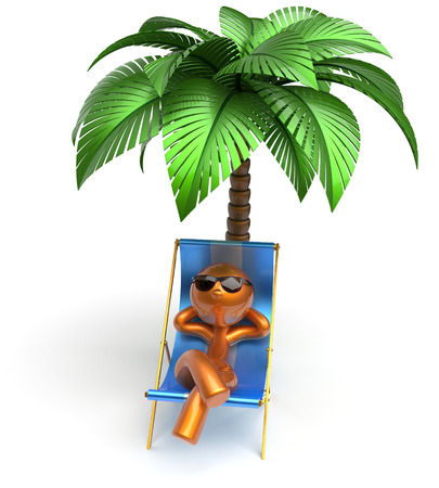 seasons cartoon: Man character relaxing chilling beach deck chair palm tree sunglasses summer comfort stylized golden cartoon person sun lounger chaise lounge tourist sunbathing rest vacation harmony icon 3d render Stock Photo