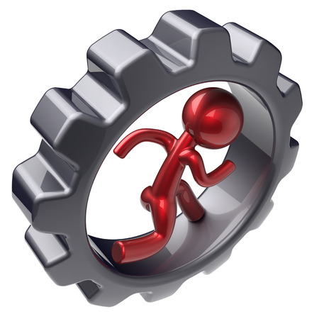 gearwheel: Running man character inside gearwheel human rotate cogwheel red stylized cartoon guy hamster person worker black gear wheel business career employment businessman concept. 3d render isolated on white
