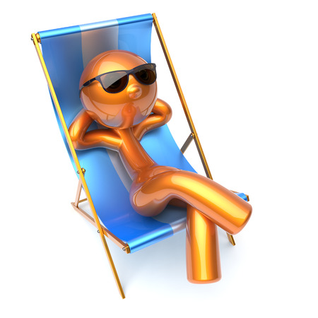 carefree: Man character relaxing carefree beach deck chair sunglasses summer comfort stylized golden chilling cartoon person sun lounger chaise lounge tourist sunbathing rest vacation icon 3d render isolated