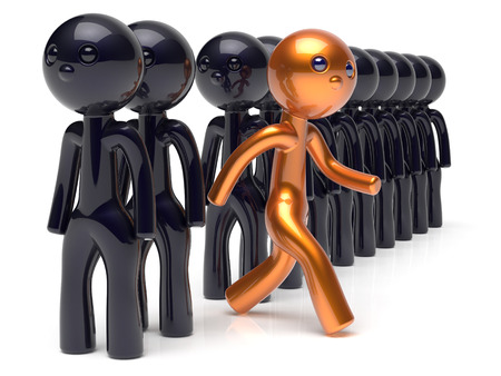 opportunity concept: Different people character unique individuality stand out from the crowd original brave man think differ person otherwise run to new opportunities concept human resources hr icon 3d render isolated