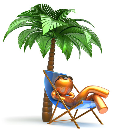 chaise lounge: Man relaxing chilling beach deck chair palm tree cartoon character sunglasses summer comfort stylized golden person sun lounger chaise lounge tourist sunbathing rest vacation harmony icon 3d render