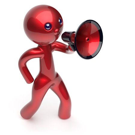 communication cartoon: Man promotion speaking megaphone character stylized making sale advertisement announcement news red human cartoon guy speaker person communication people shout figure icon concept 3d render