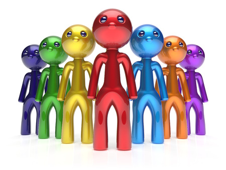 commander: Men characters stylized crowd teamwork leadership businessman commander team individuality seven cartoon persons icon. Social relationship friends concept 3d render isolated