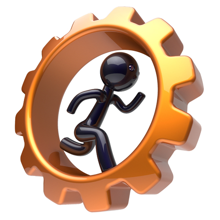 worker person: Man character running inside gearwheel businessman rotate cogwheel stylized black human cartoon guy hamster person worker gear wheel business career employment hard job concept. 3d render isolated