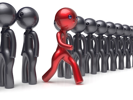 referendum: Different people red man character individuality stand out from the black crowd unique think differ person otherwise run to new opportunities concept referendum vote icon. 3d render isolated