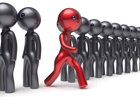 verschillen: Verschillende mensen rood man karakter individualiteit onderscheiden van de zwarte menigte unieke think verschillen persoon anders uitvoeren om nieuwe kansen begrip referendum stem icoon. 3d render geïsoleerde