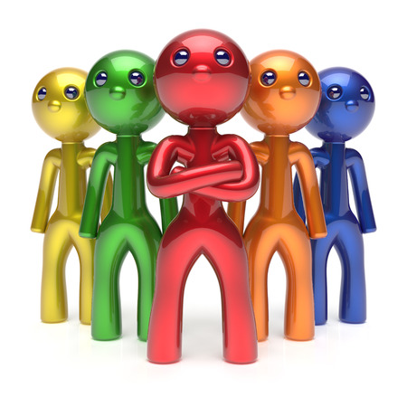 commander: Teamwork characters men crowd businessman leadership commander team individuality five cartoon persons icon colorful social relationship friends concept 3d render isolated
