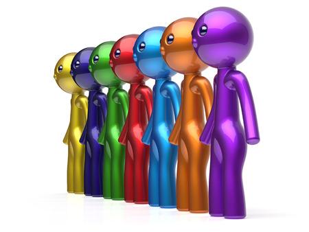fila di persone: Caratteri degli uomini delle risorse umane della linea catena social network amici lavoro di squadra people renda diverse riga amicizia squadra individualit� sette diverse persone cartone animato concetto incontro unit� colorato 3d