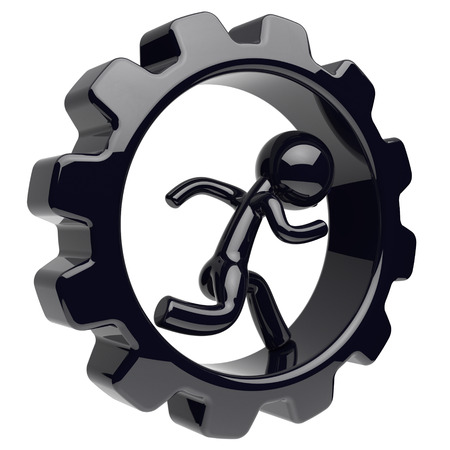 worker person: Man character runner inside gear wheel gearwheel businessman run rotate cogwheel stylized black human cartoon guy person worker gear wheel business career employment concept 3d render isolated