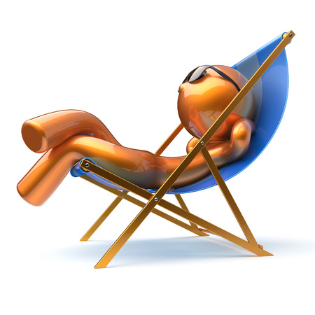 deck chair isolated: Man cartoon character relaxing carefree beach deck chair sunglasses summer comfort stylized golden chilling person sun lounger chaise lounge tourist sunbathing rest vacation icon 3d render isolated Stock Photo