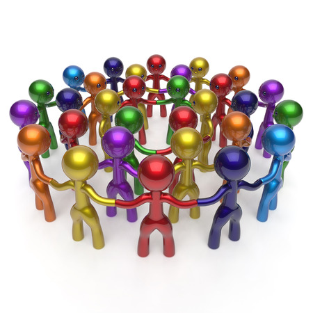 strong partnership: Men crowd social network worldwide large circle characters group people teamwork friendship individuality team different cartoon friends corporate human unity icon concept colorful. 3d render isolated