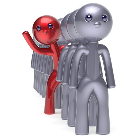 Man character stand out from the crowd different individuality people unique red think differ person otherwise hello to new opportunities concept human resources trust icon. 3d render isolated
