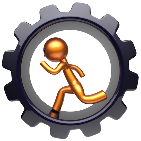 worker person: Man character gear wheel running hard work inside cogwheel businessman rotate stylized golden human cartoon guy person worker black gearwheel business career employment job concept. 3d render isolated Stock Photo