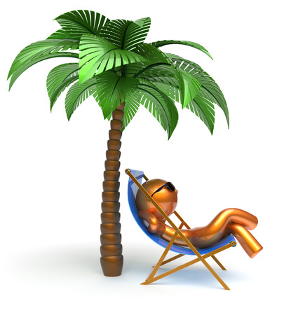 chilling: Man character palm tree relaxing chilling beach deck chair sunglasses summer comfort stylized golden cartoon person sun lounger chaise lounge tourist sunbathing rest vacation harmony icon 3d render Stock Photo