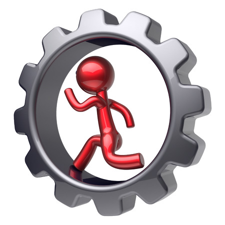 worker person: Man character stylized red cartoon guy running inside gearwheel human rotate cogwheel like run hamster person worker black gear wheel business career employment businessman concept. 3d render isolated