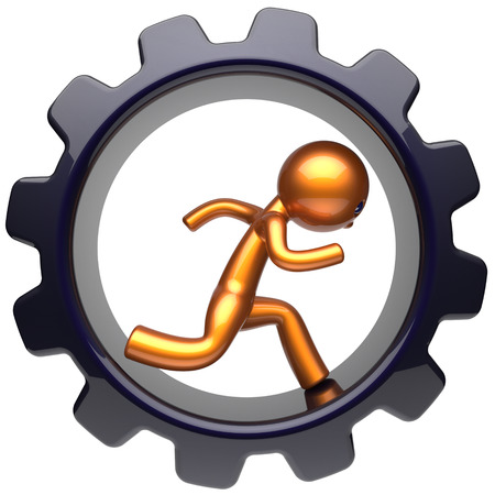 worker person: Gear wheel running man character hard work inside cogwheel businessman rotate stylized golden human cartoon guy person worker black gearwheel business career employment job concept. 3d render isolated