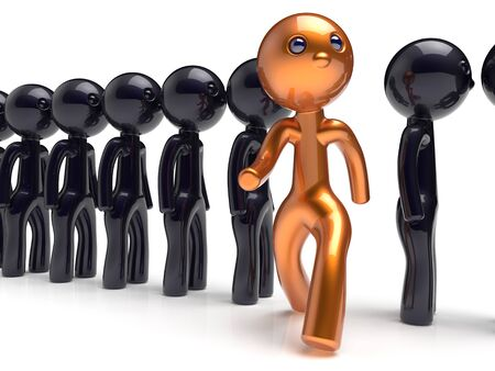 run out: Different people unique man character individuality stand out from the crowd original brave think differ person otherwise run to new opportunities concept human resources hr icon 3d render isolated