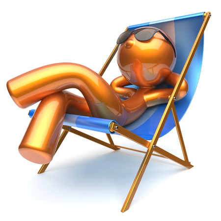 chilling: Man character chilling relaxing beach deck chair sunglasses summer comfort stylized golden cartoon person sun lounger chaise lounge tourist sunbathing rest vacation harmony icon 3d render isolated Stock Photo