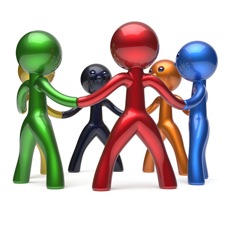 friendship circle: Teamwork circle people social network individuality characters human resources friendship team six different cartoon friends unity meeting brainstorm icon concept colorful. 3d render isolated Stock Photo