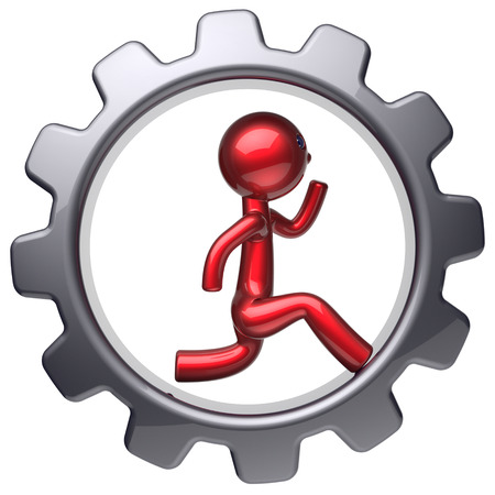 worker person: Running man character stylized red cartoon guy inside gearwheel human rotate cogwheel like run hamster person worker black gear wheel business career employment businessman concept. 3d render isolated Stock Photo