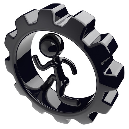 worker person: Gearwheel man character inside gear wheel businessman run rotate cogwheel stylized black human cartoon guy person worker gear wheel business career employment concept. 3d render isolated on white Stock Photo