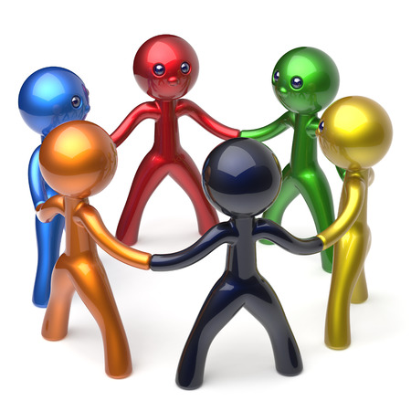 individuality: Teamwork men circle people social network individuality characters human resources friendship team six different cartoon friends unity meeting brainstorm icon concept colorful 3d render isolated