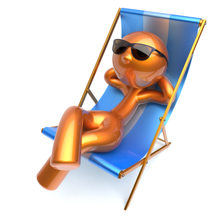Man relaxing carefree stylized character chilling beach deck chair sunglasses summer comfort golden cartoon person sun lounger chaise lounge tourist sunbathing rest vacation icon 3d render isolated Stok Fotoğraf