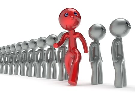 run out: Different people red man character individuality stand out from the white crowd unique think differ person otherwise run to new opportunities concept referendum vote icon. 3d render isolated