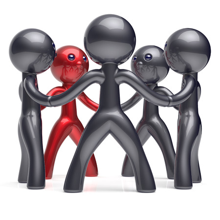 resource: Teamwork people social network circle leadership man individuality character human resources friendship team five cartoon friends unity meeting icon concept red black. 3d render isolated