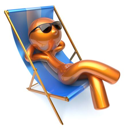 chaise: Man relaxing chilling beach deck chair sunglasses summer comfort cartoon stylized golden character sun lounger chaise lounge tourist person sunbathing rest vacation holiday icon 3d render isolated Stock Photo