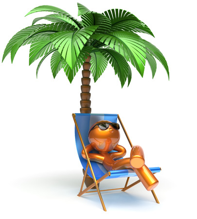 chaise: Relaxing man character deck chair palm tree chilling beach sunglasses summer comfort stylized golden cartoon person sun lounger chaise lounge tourist sunbathing rest vacation holiday icon 3d render Stock Photo