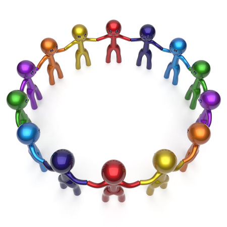 friendship circle: Men circle characters together social network worldwide internet large group stylized people teamwork friendship individuality team different cartoon friends unity human resources concept 3d render Stock Photo