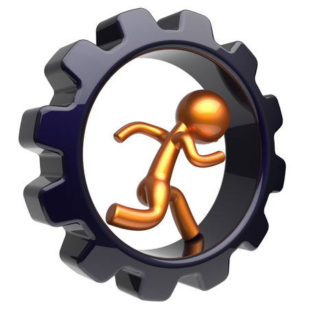 worker person: Gear wheel running man character inside gear wheel businessman hard work stylized golden human cartoon guy person worker black cogwheel business career employment job concept. 3d render isolated Stock Photo