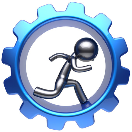 worker person: Businessman character running inside gearwheel man run rotate cogwheel stylized human cartoon guy hamster person worker blue gear wheel business career employment concept. 3d render isolated Stock Photo