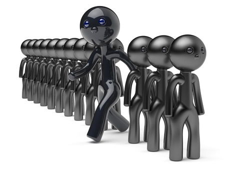 differ: Stand out from the crowd different character people man black think differ unique person otherwise run to new opportunities concept individuality referendum vote icon 3d render isolated