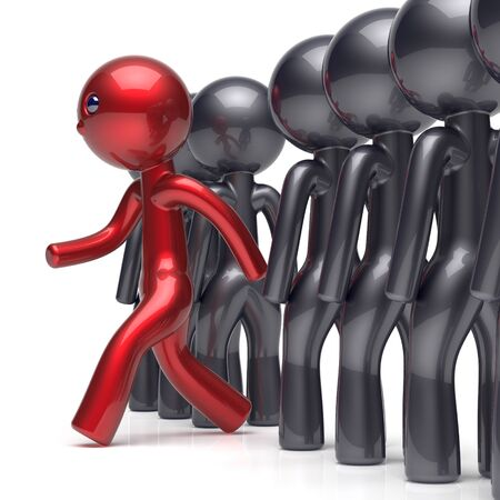 Different people stand out from the crowd individuality character red unique man think differ person otherwise run to new opportunities concept human confidence trust vote icon. 3d render isolated
