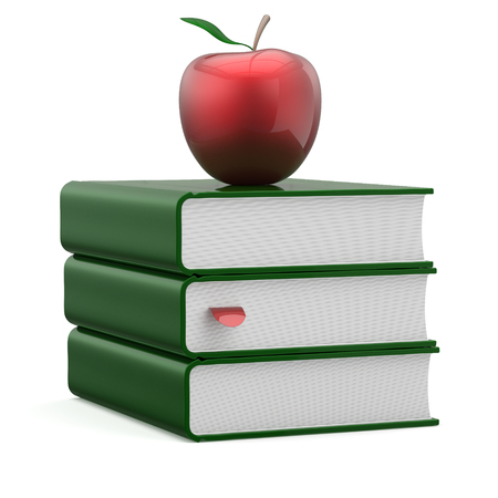 erudition: Books green covers textbook stack blank bookmark red apple education studying reading learning school knowledge literature question answer icon concept. 3d render isolated