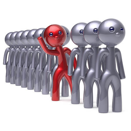 opportunity concept: Stylized character stand out from the crowd man different individuality  people unique red think differ person otherwise hello to new opportunities concept human resources hr icon 3d render isolated