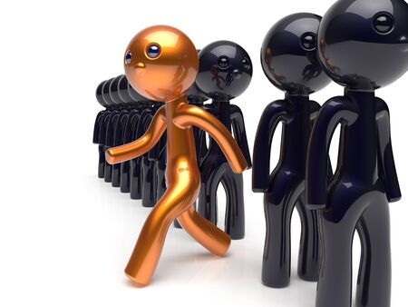 run out: Different people stand out from the crowd unique man character individuality original brave think differ person otherwise run to new opportunities concept human resources icon 3d render isolated