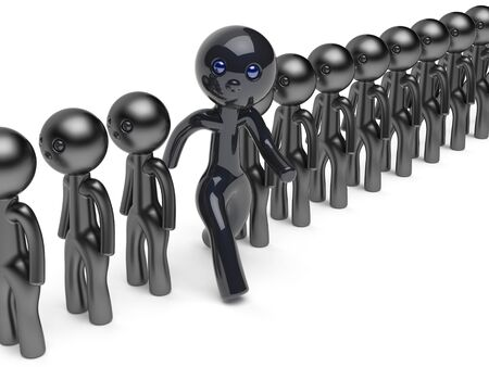 referendum: Man stand out from the crowd different character people think differ unique person otherwise run to new opportunities concept individuality referendum vote icon black 3d render isolated